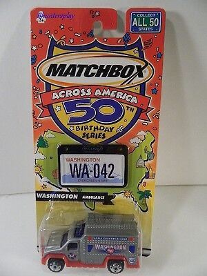 Matchbox Washington Ambulance Car Across America 50th Birthday Series 2001 New