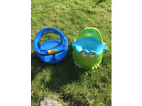 Fisher Price Froggy Potty and Safety 1st First Blue Swivel Bath Tub, Seat Baby Infant Bathing Chair