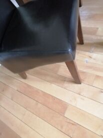 4x Brown faux leather dining chairs