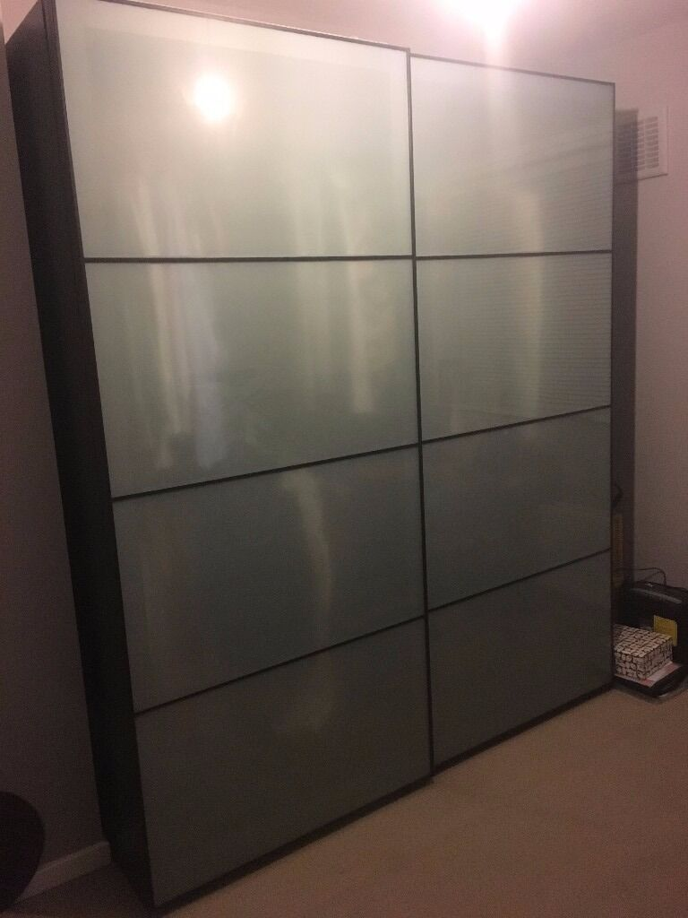 Ikea Pax Wardrobe Black Brown With Frosted Glass Sliding Doors 175
