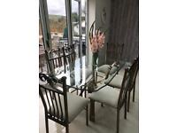 Matching Glass dining table and 6 chairs, occasional table and coffee table