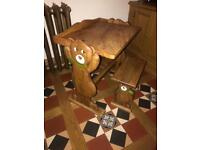 Solid wooden child's desk table