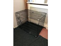 XL unused black dog cage/ crate 2 doors & removable base
