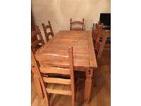 Antique Mexican Pine Dining Table and 6 Chairs