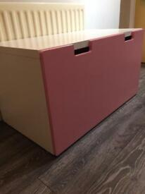 Pink and white one drawer chest toy box