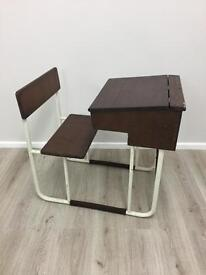 Child's vintage school desk with bench