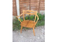 Retro Vintage Ercol 493 Windsor Carver Elbow Beechwood Armchair Dining Chair
