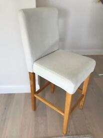 White Faux Leather high chair for breakfast bar wooden legs