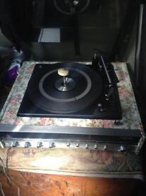 Vintage record player with radio 1970s