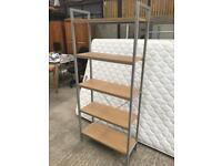 Silver Shelf Unit With Oak Shelves