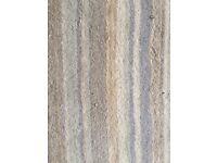 Wool rug, pale blue, light grey cream stripe. Handmade