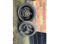 Motorhispania rx50 wheels with discs good condition with axles ,chain and rear sprocket