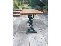 retro garden table 120 cm long in oak