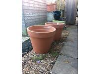 Huge terracotta garden plant pots