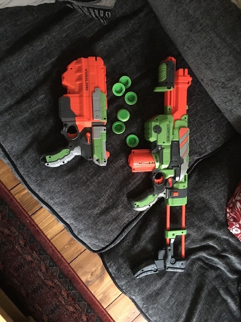 Nerf Vortex and Vigilon foam toy gunsin Leith, EdinburghGumtree - Nerf Vortex foam disc rifle, and Vigilon pistol for sale. I bought these whilst I was a carefree young batchelof, but have now passed that particular stage for pastures new. Endless fun, provided fun for you involves shooting foam discs at your...