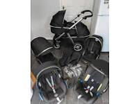 oyster 2 max twin tandem double pram phshchair 3in1 unisex black maxi britax