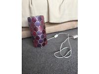 Table lamp – purple circles design - £2