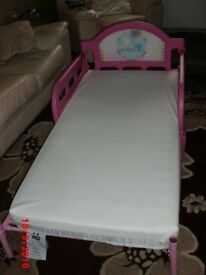 Peppa Pig childs pink bed.with mattress.