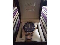 L'VEL Men's Submariner Luxury Blue/Gold Stainless Steel Quartz Movement Watch