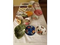 Decorative ceramic plates, bowls and jugs