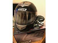 Box BX-1 Black Full Face Motorcycle Helmet Size Medium