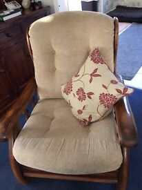 Two solid oak armchairs, good clean condition
