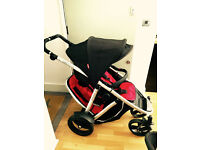 Phil and Teds Verve in Cherry Red - with double buggy seat