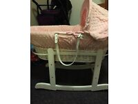 Pink baby Moses basket and stand