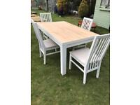 And four chairs shabby chic style (can deliver)