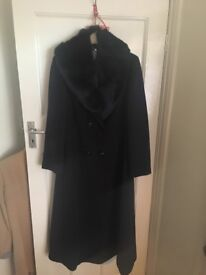 Ladies Wool Coat with Faux Fur Collar - Brand New