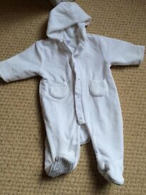 White unisex snowsuit pram suit. As new. 0-3 mths