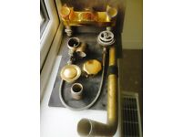 Gold/Brass coloured Bath Taps and Waste