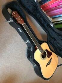 Crafter D8-EQ electro acoustic guitar with hard case