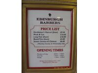 Edinburgh Barbers require experienced part-time BARBERS telephone 07701390896 saturday and sundays..