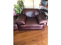 Large Leather Padded Sofa Chair - In Bordeaux Red (Burgundy)