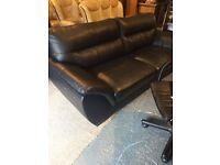 black leather large sofa