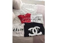 4 T-shirts all size small red is Med H&M all excellent condition