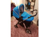 Silver Cross Pioneer pram with Blue Hood and apron and seat liner
