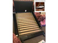 Faux leather brown black bed Frame inc headboard
