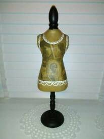 NEXT FRENCH CORSET STYLE JEWELLERY MANNEQUIN ON WOOD STAND