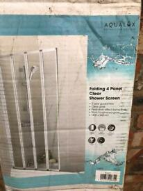 Brand new 4 panel clear folding bath shower screen