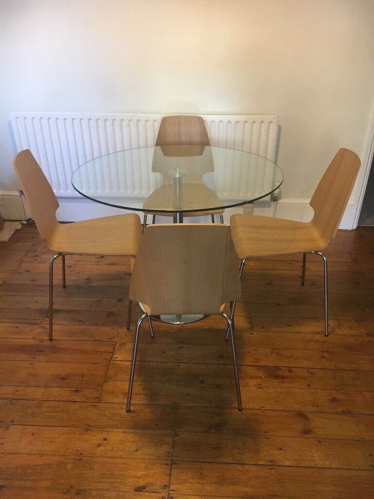 Round Glass Dining Table With 4 Chairs In Beckenham