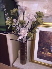 2 LARGE VASES WITH ARTIFICIAL FLOWERS