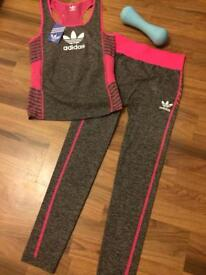 Adidas leggings and racer back vest