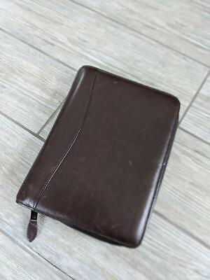 Scully Leather Binder Folder 7.5 X 10 Brown Portfolio 3 Ring Organizer