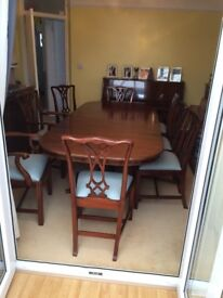 Large Mahogany Extendable Dining Table & 8 Chippendale Style Chairs ~ Rackstraw