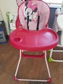 Minnie mouse reclining high chair