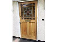 Solid oak half glazed front door