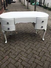 Kidney dresser, solid wood, hand painted white