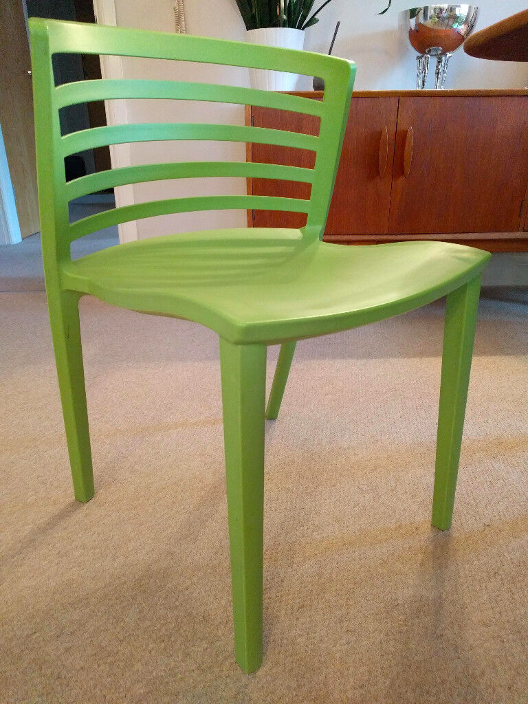 6 x green polypropylene chairs uv protected in and outdoor